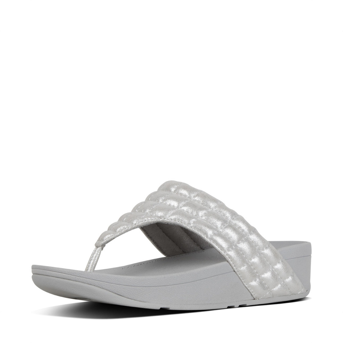 Lulu Padded Shimmysuede Toe-Thong Sandals Silver