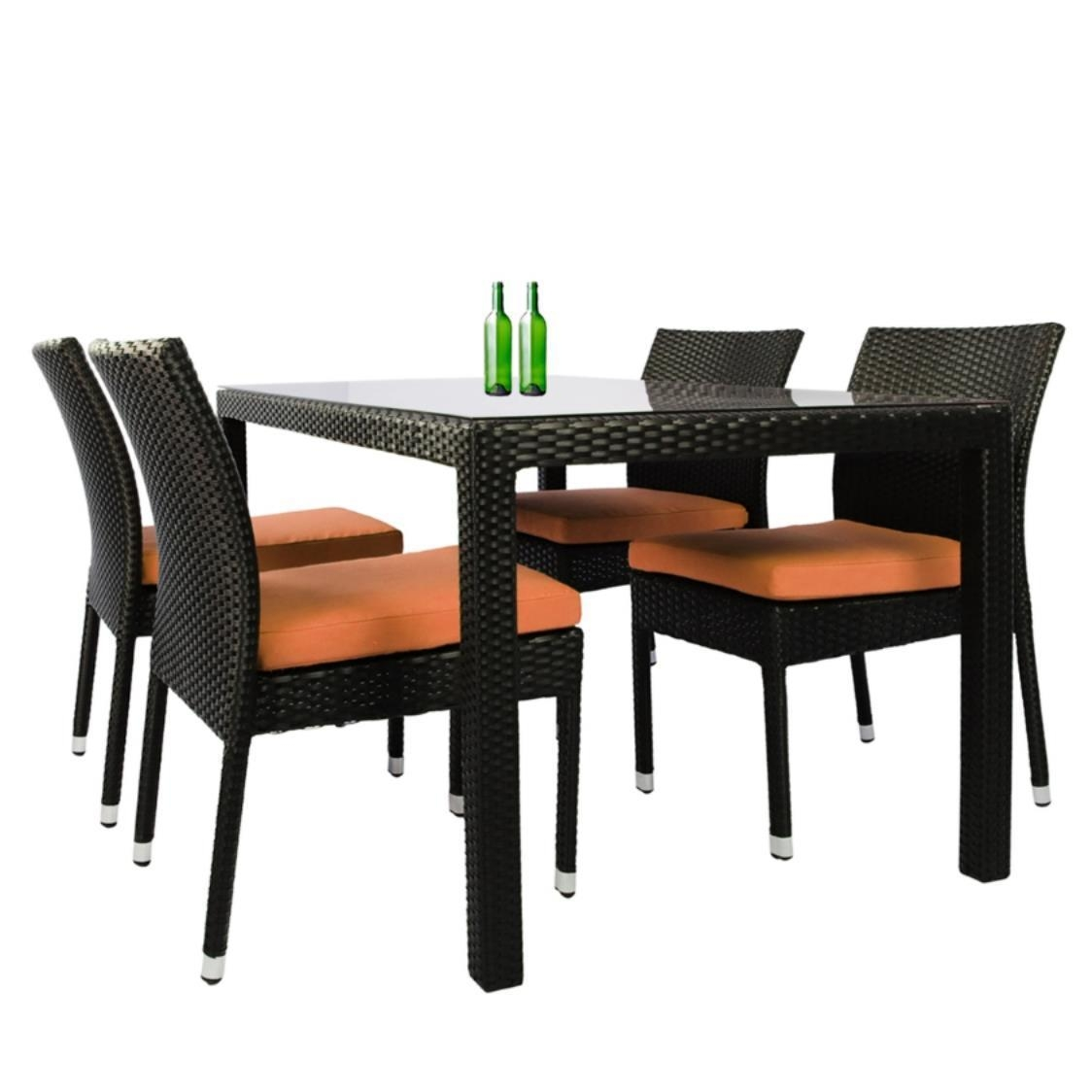 Casa 4 Chair Dining Set Orange Cushion