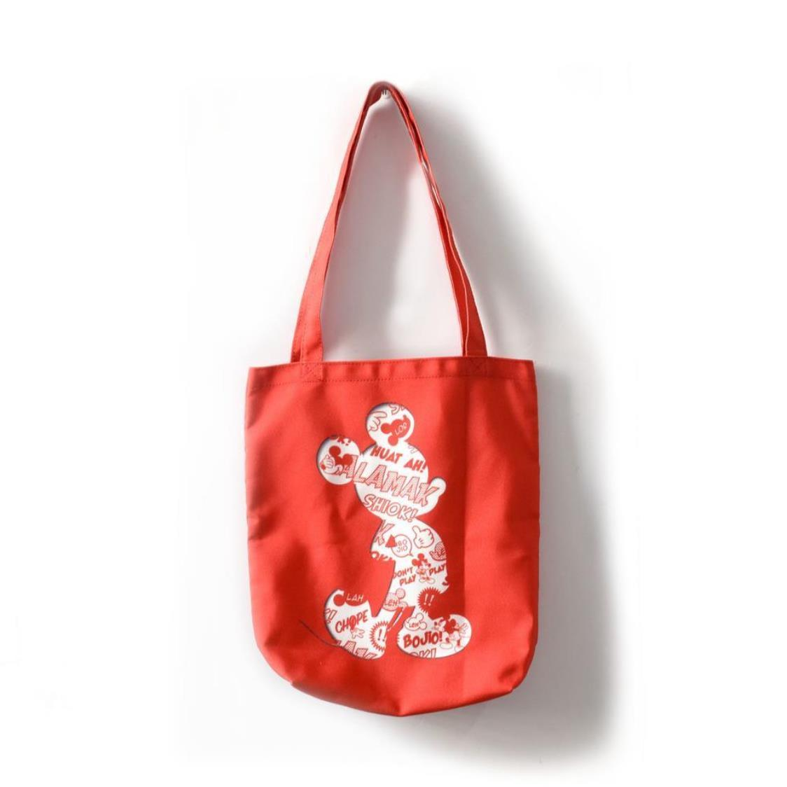 Mickey Silhouette Canvas Tote Bag Red