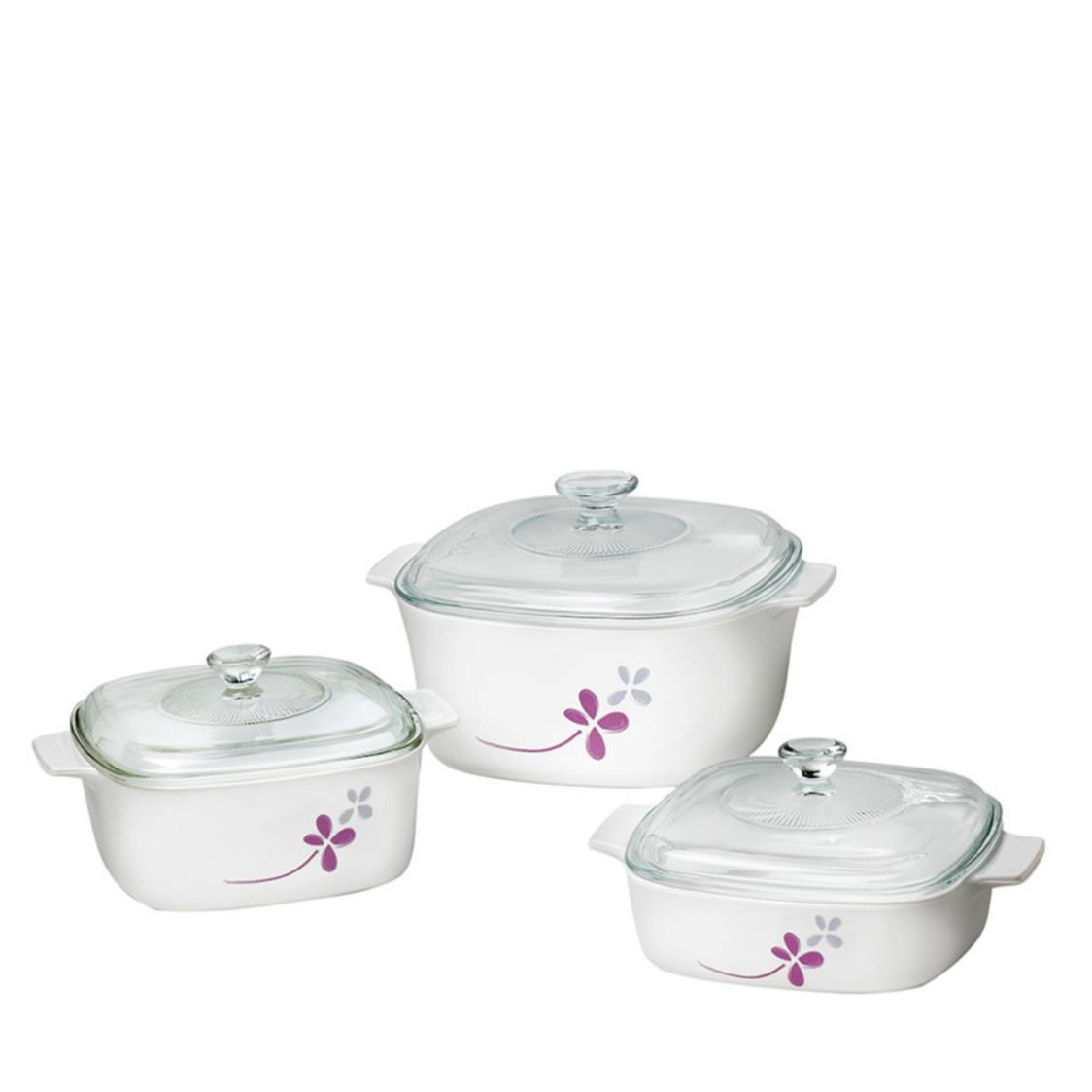 6pc Casserole Set Warm Pansies