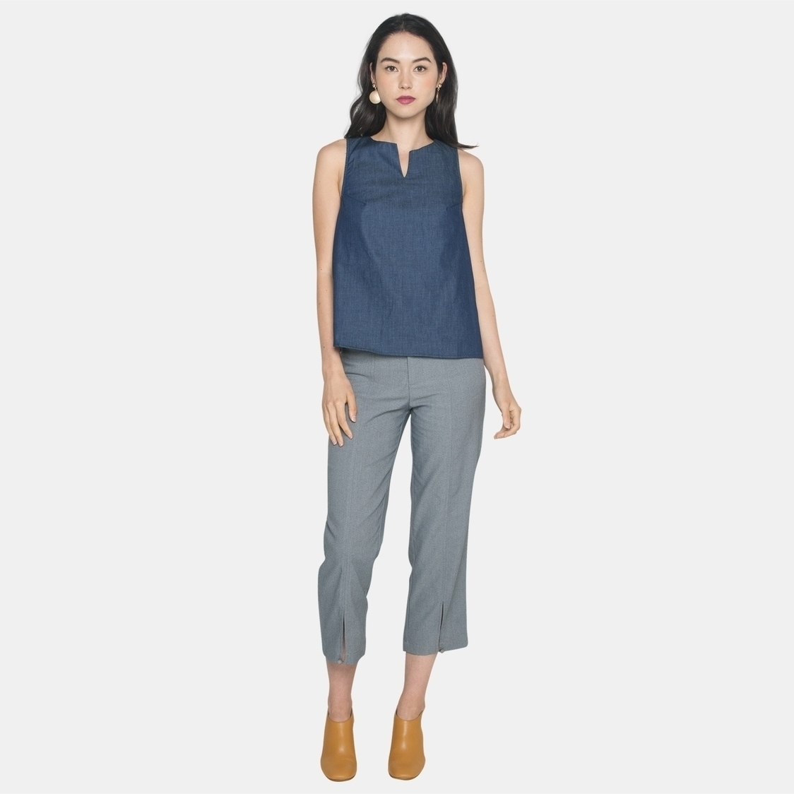 Ellysage Front Slit Pants in Light Grey