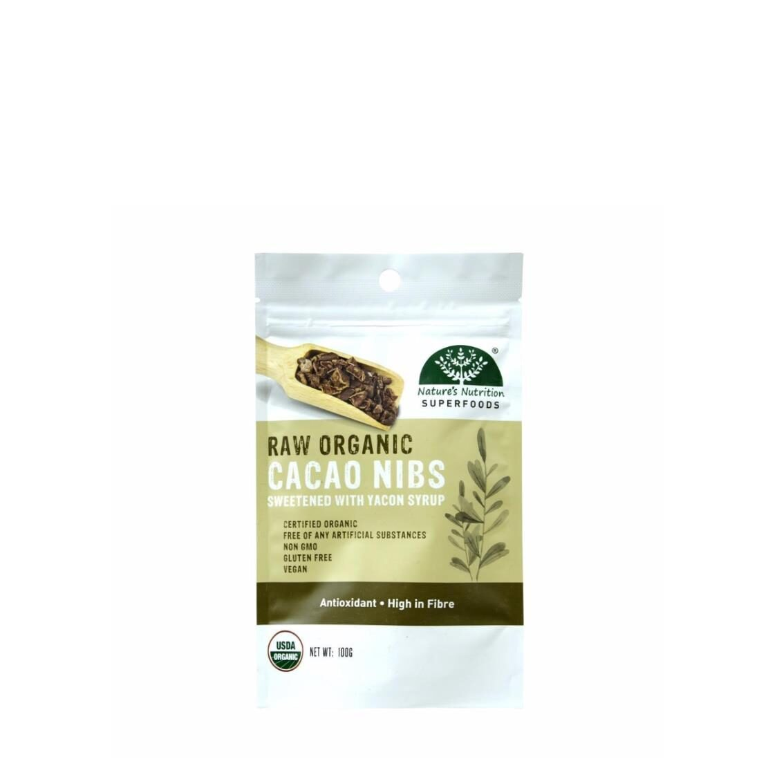 Natures Nutrition Organic Cacao Nibs with Yacon Syrup 100g