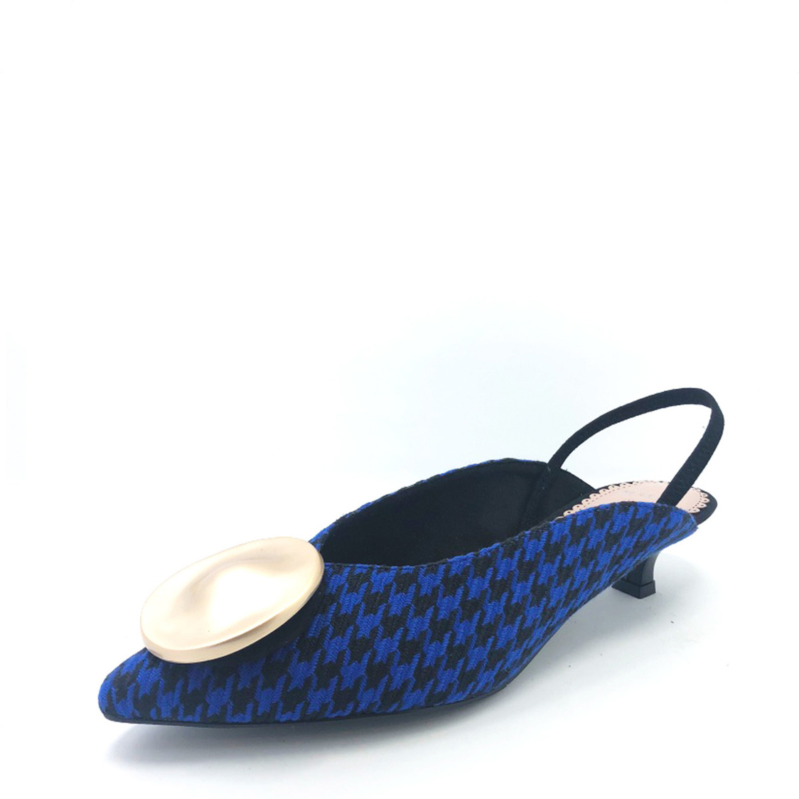 Slingback Courtshoes with Brooch BlueBlack Plaids