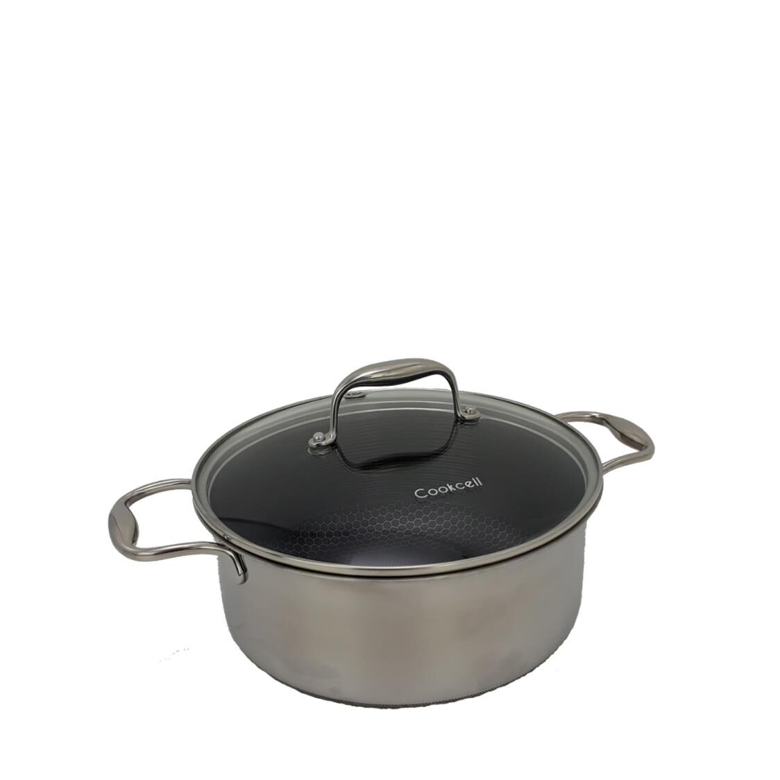 Cookcell Blackcube Casserole With Stainless Steel Rim Glass Lid 24cm