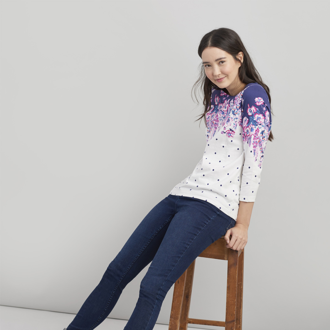 Harbour Printed Jersey Top Cream Floral Spot