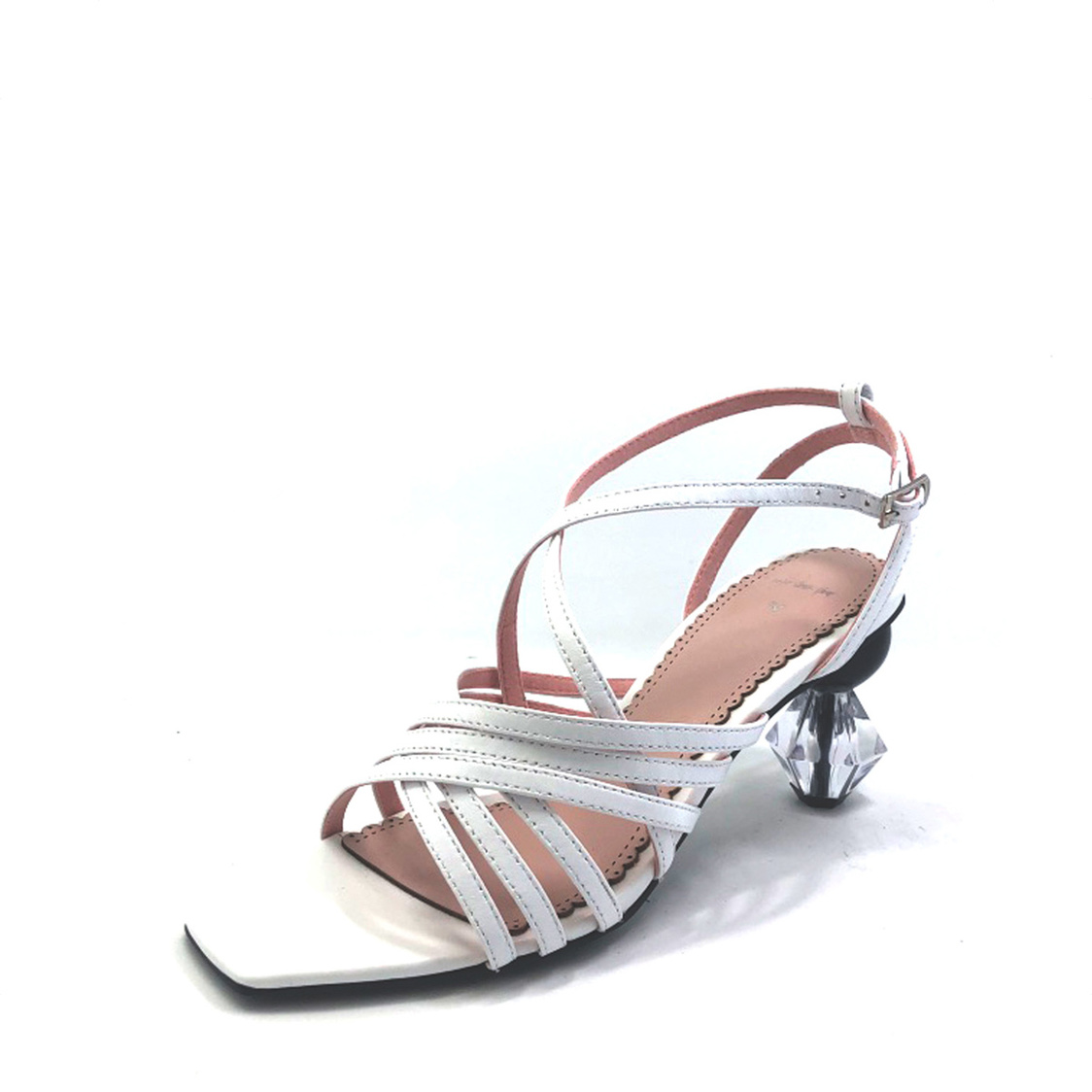 Strappy Sandals with Geometric Heel White