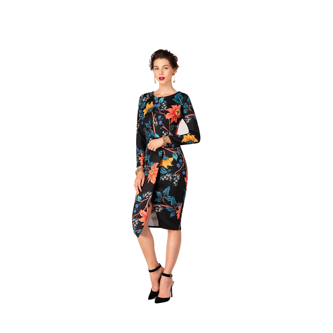 Black Floral Draped Front Wrap Dress