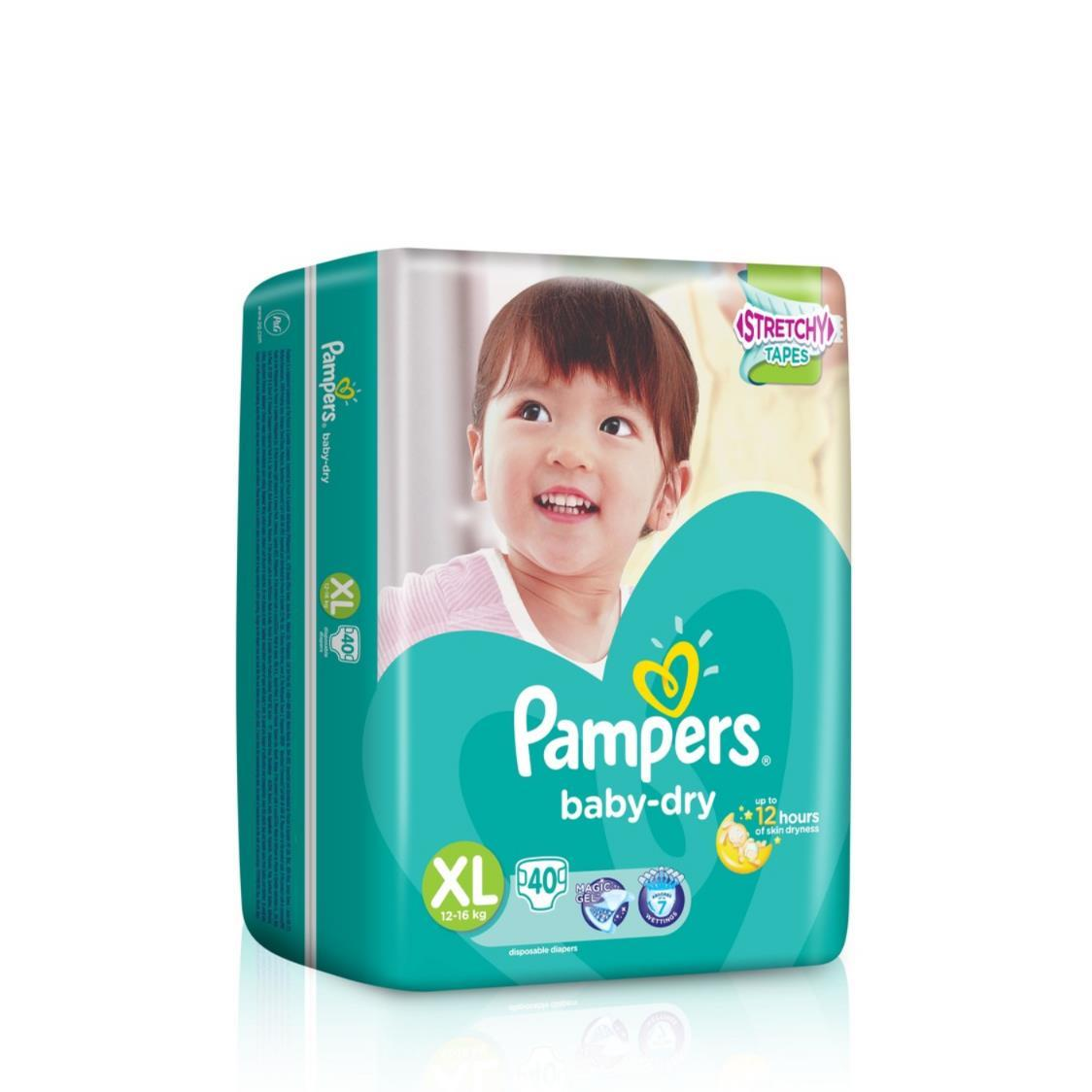 Pampers Baby Dry Diapers XL 40s 12-16kg