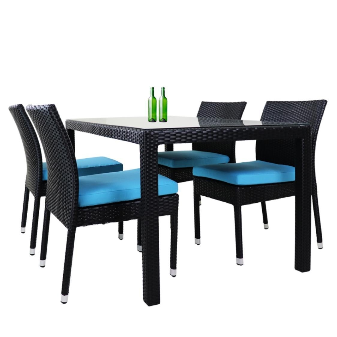 Casa 4 Chair Dining Set Blue Cushion