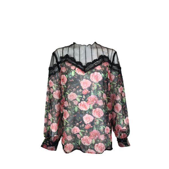 NS Boutique Sheer Lace Floral Print Top Red