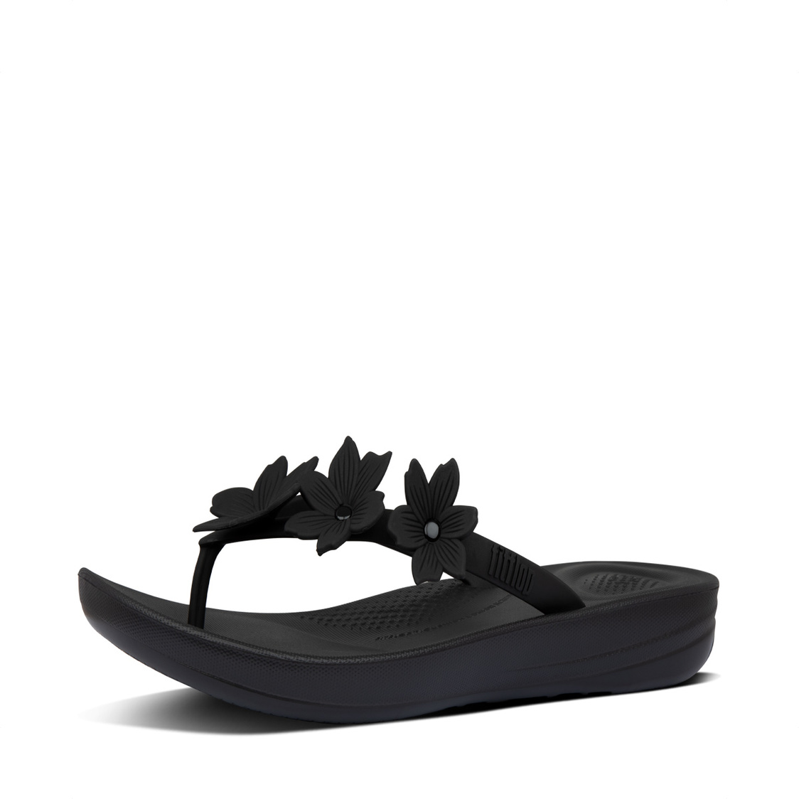 Fitflop iQushion Floral Flip-Flops All Black