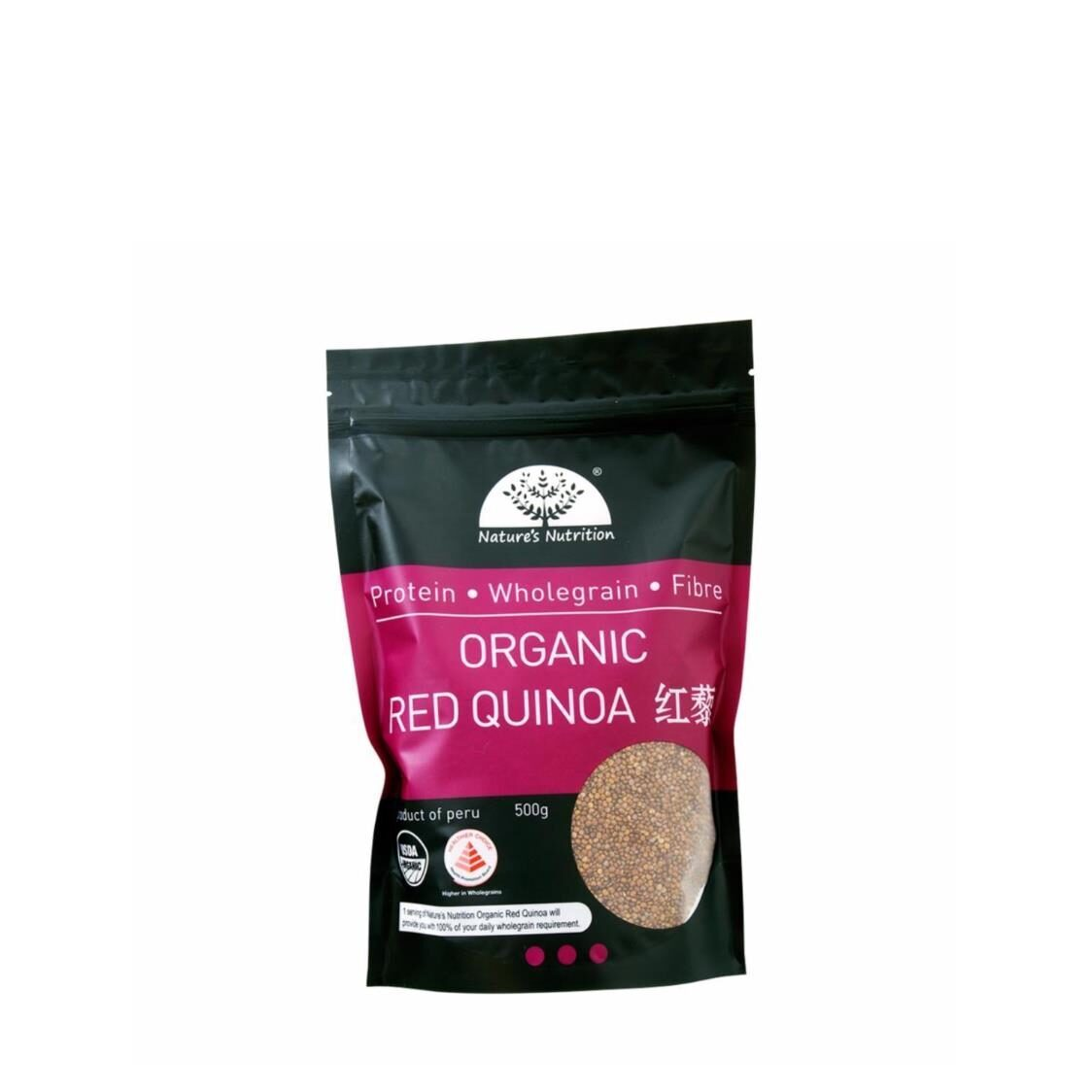 Natures Nutrition Organic Red Quinoa 500g