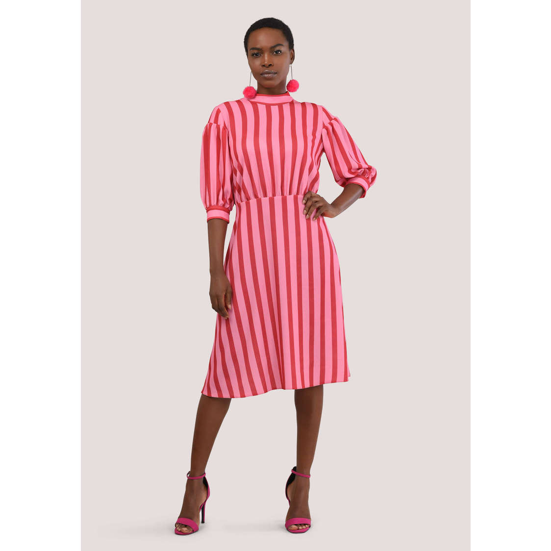 Pink Short Full Sleeve Dress