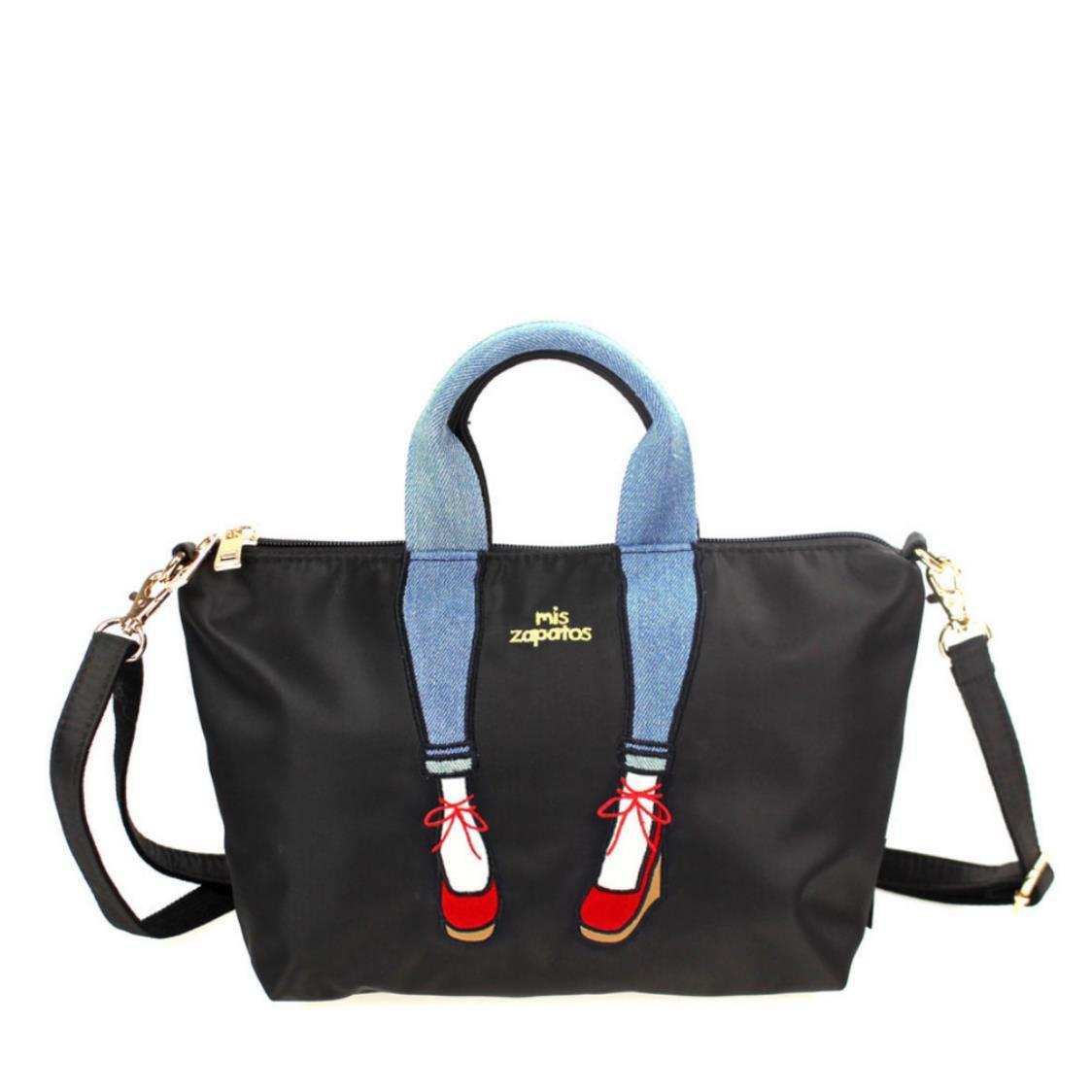 2-Way Use Jeans with Wedges Slingbag Black