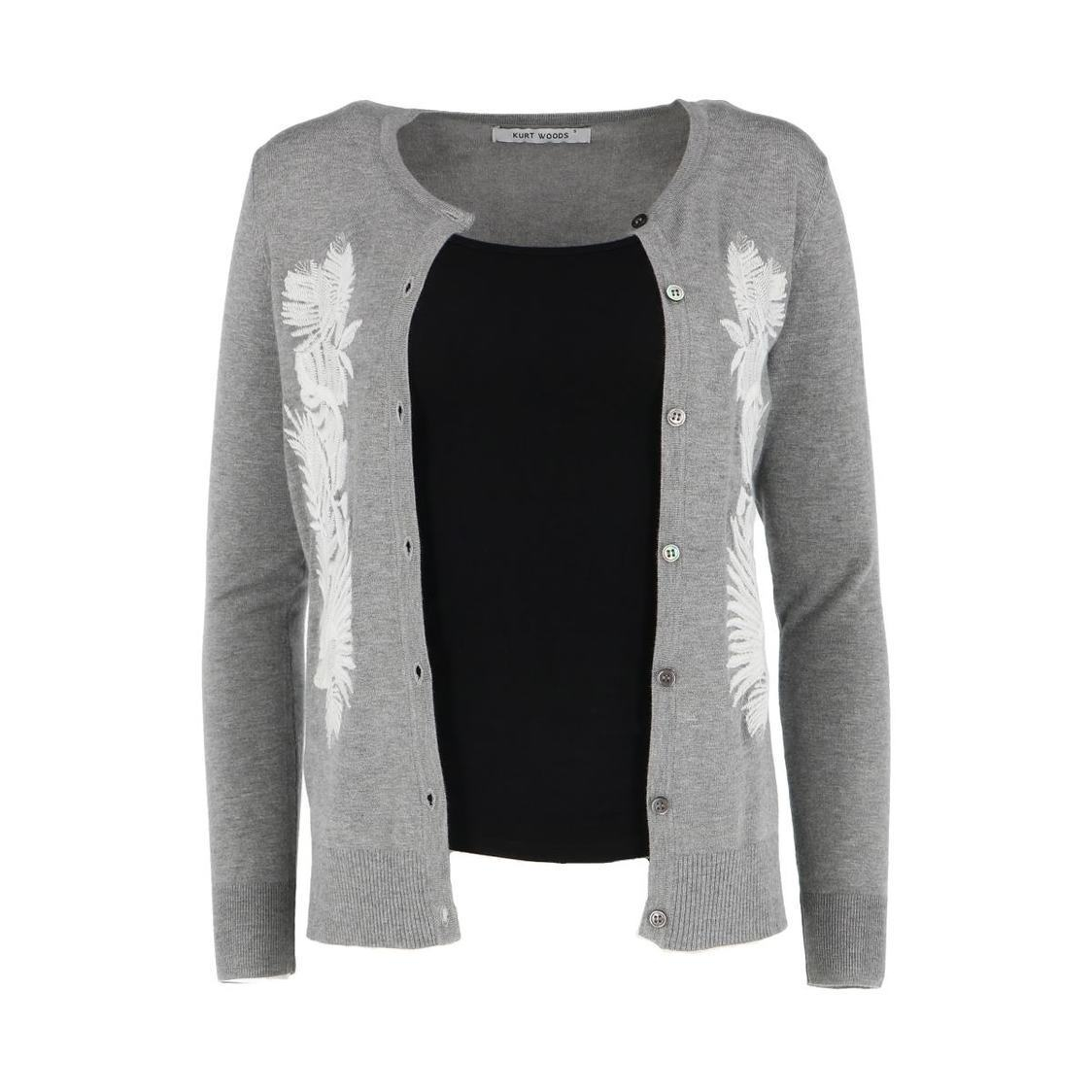Floral Embroidered Grey Cardigan
