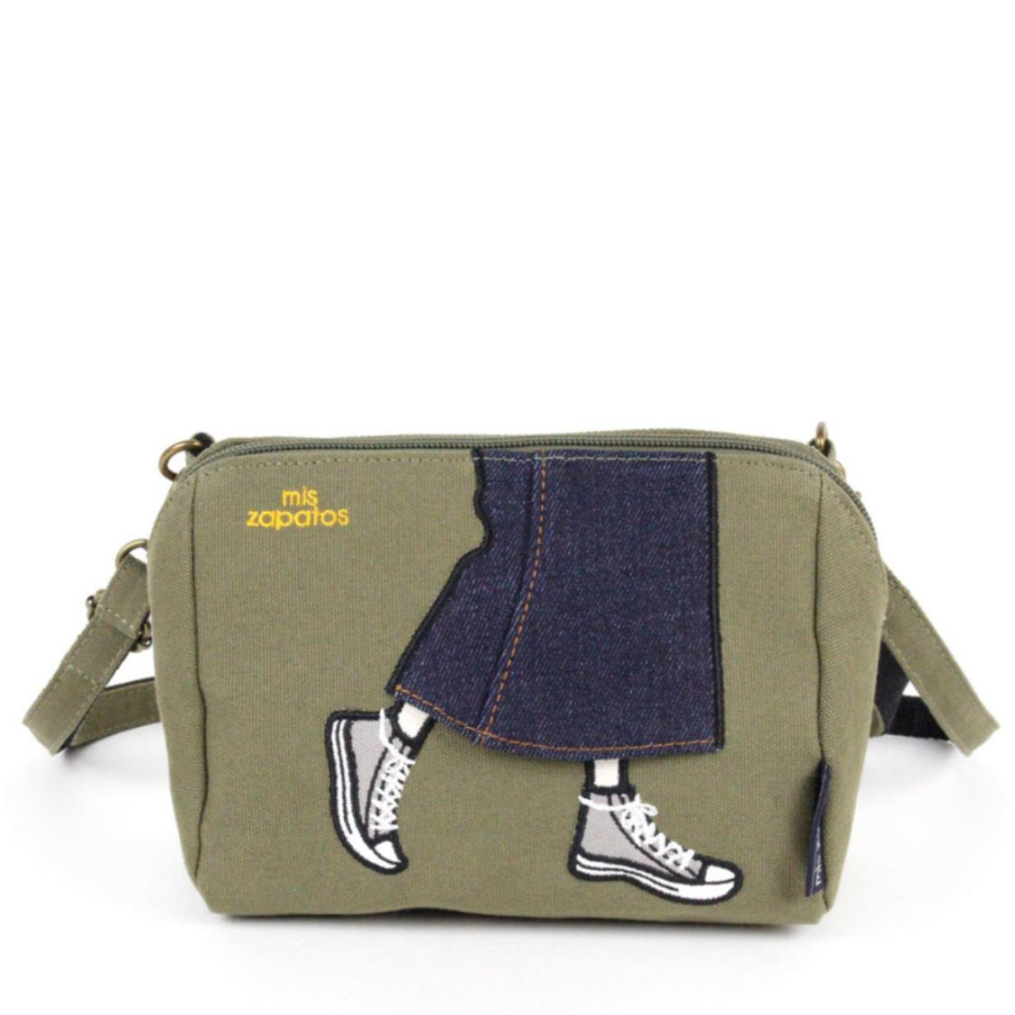 2-Way Use Jeans Skirt with Sneakers Slingbag Khaki