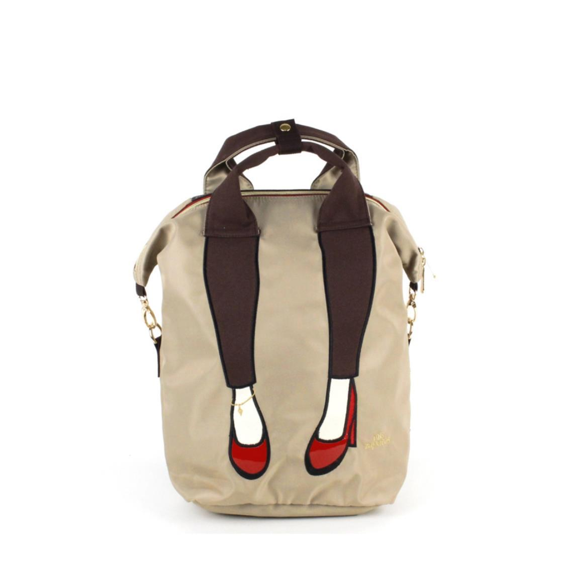 3-Way Use Jeans with High Heels Backpack Beige