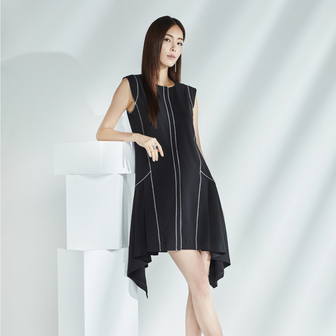 Asymmetrical Dress with Contrast Stitching Detail