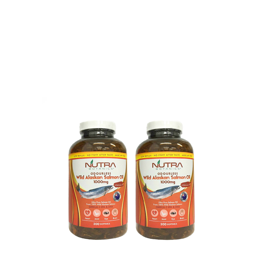 Odourless Omega-3 Wild Alaskan Salmon Fish Oil 1000Mg 2 X 300S Twin Pack