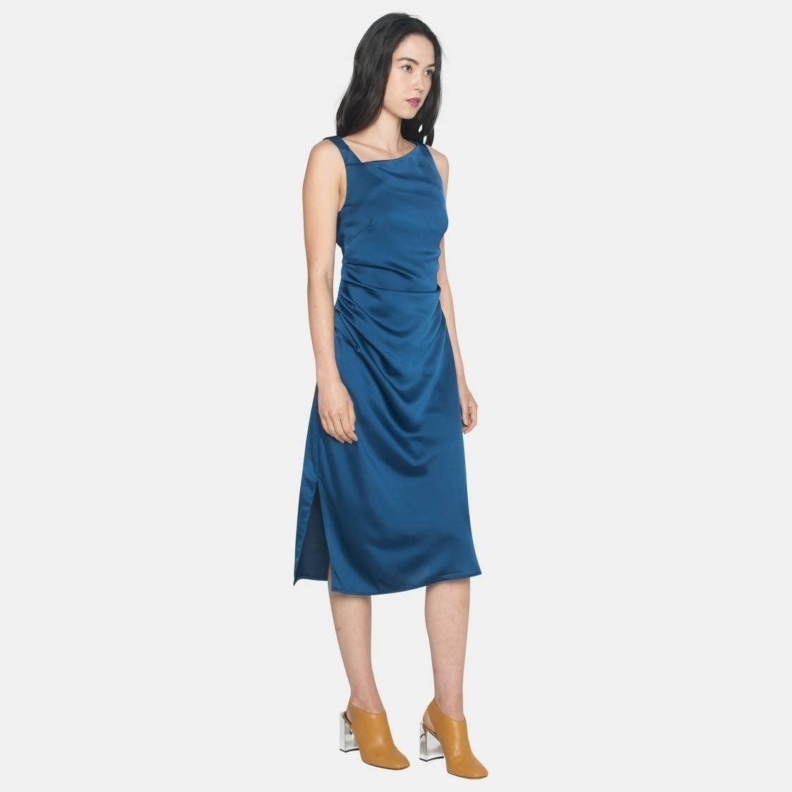 Ellysage Toga Draped Midi in Navy