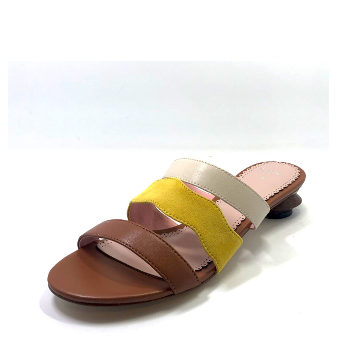 Colorblock Slip-On with Stacked Heel Tan