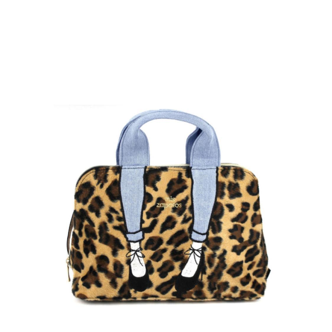 2-Way Use Jeans with High Heels Slingbag Leopard