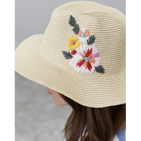 d0e91d32 Tom Joule. Dora Floral Embroidered Sun Hat Red Placement Floral