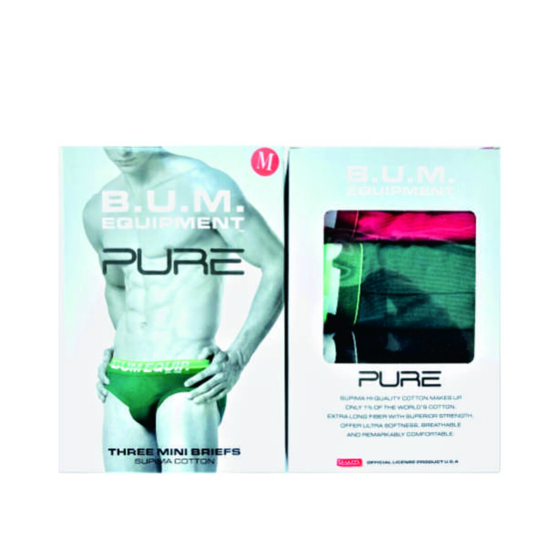 Bum Equipment Suprima Cotton Mini Briefs 3 Pcs RedGreenBlack