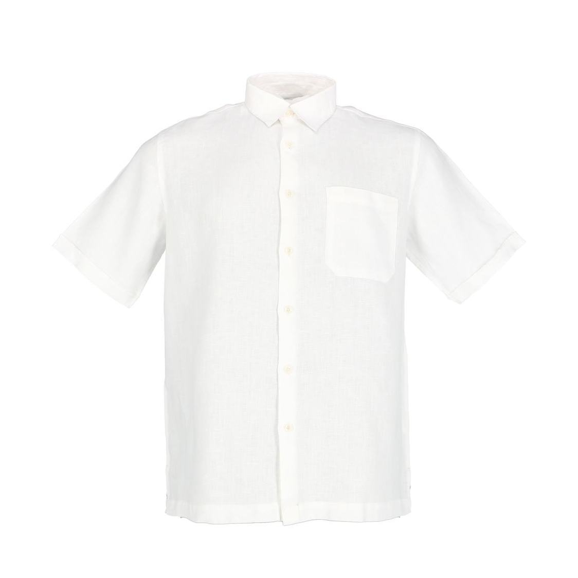 Mens Short Sleeve Linen Shirt In White