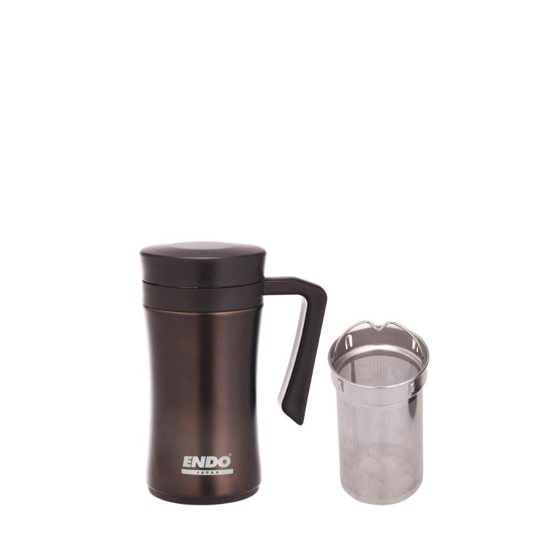 450Ml Double Stainless Steel Desk Mug With Tea Strainer Urban Brown CX-3001
