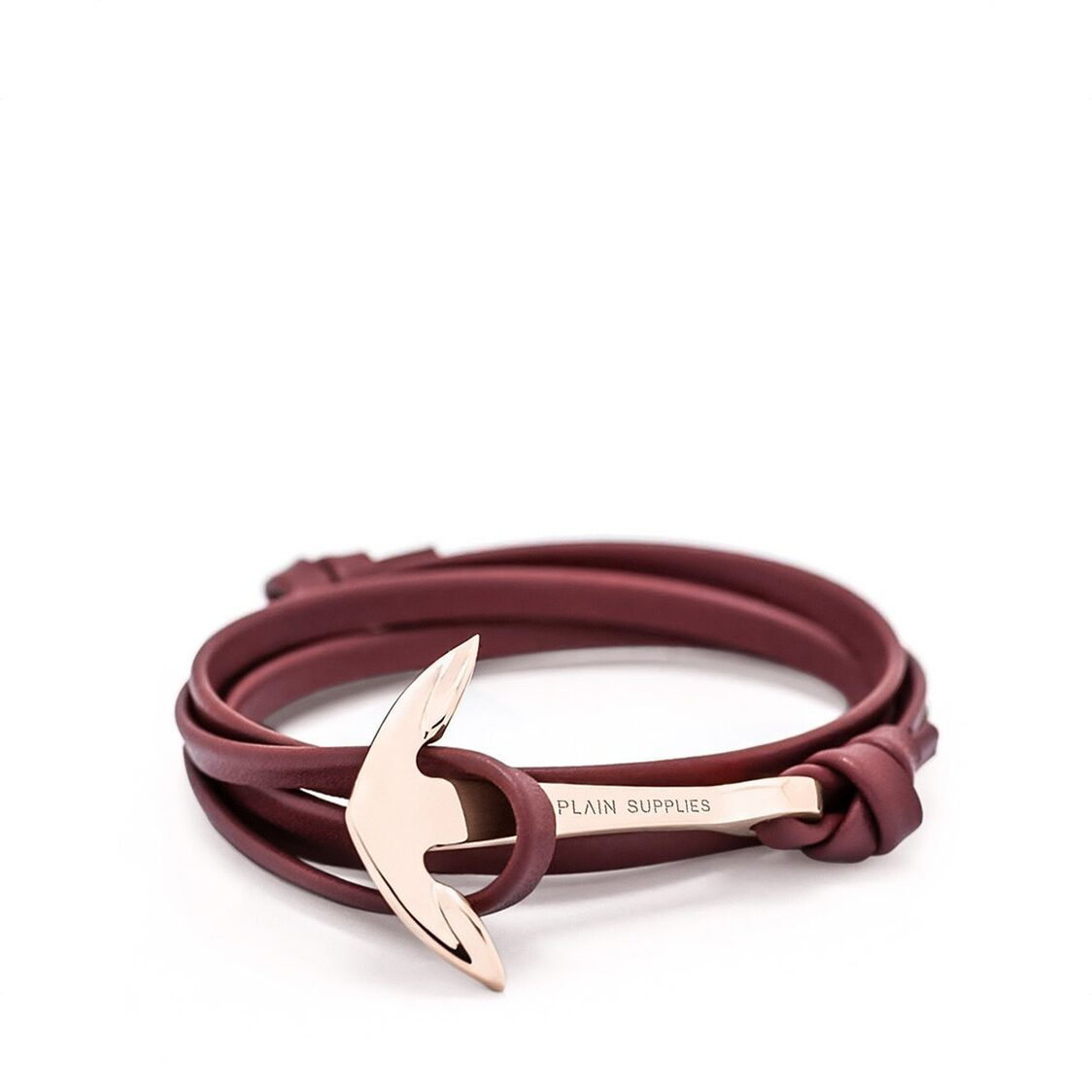 Rose Gold Anchor Bracelet  Burgundy Leather