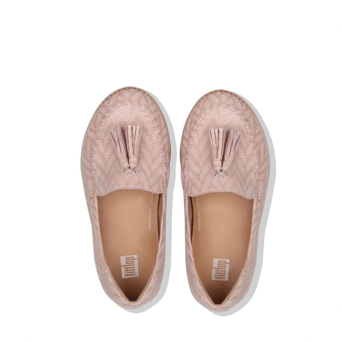 Petrina Chevron-Suede Moccasin Loafers Oyster Pink