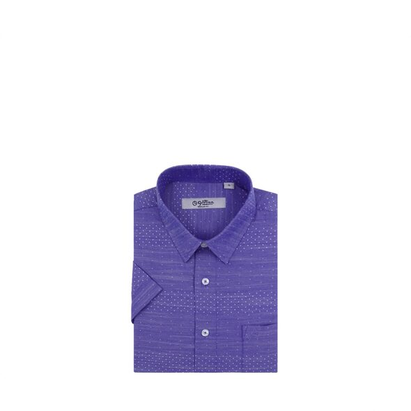 Goldlion Casual Short Sleeved Shirt Blue With White Dotted Print
