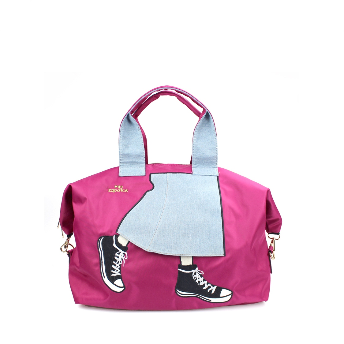 2-Way Use Jeans Skirt With Sneakers Travel Bag Pink