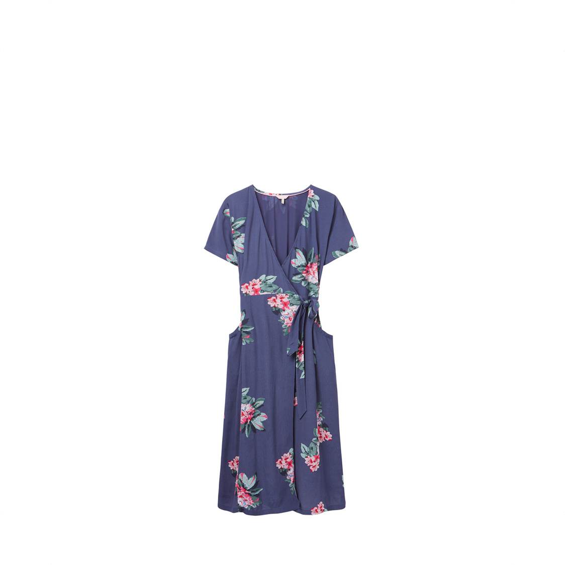 Tom Joule Callie Print Wrap Dress With Angled Pockets Floral Blue