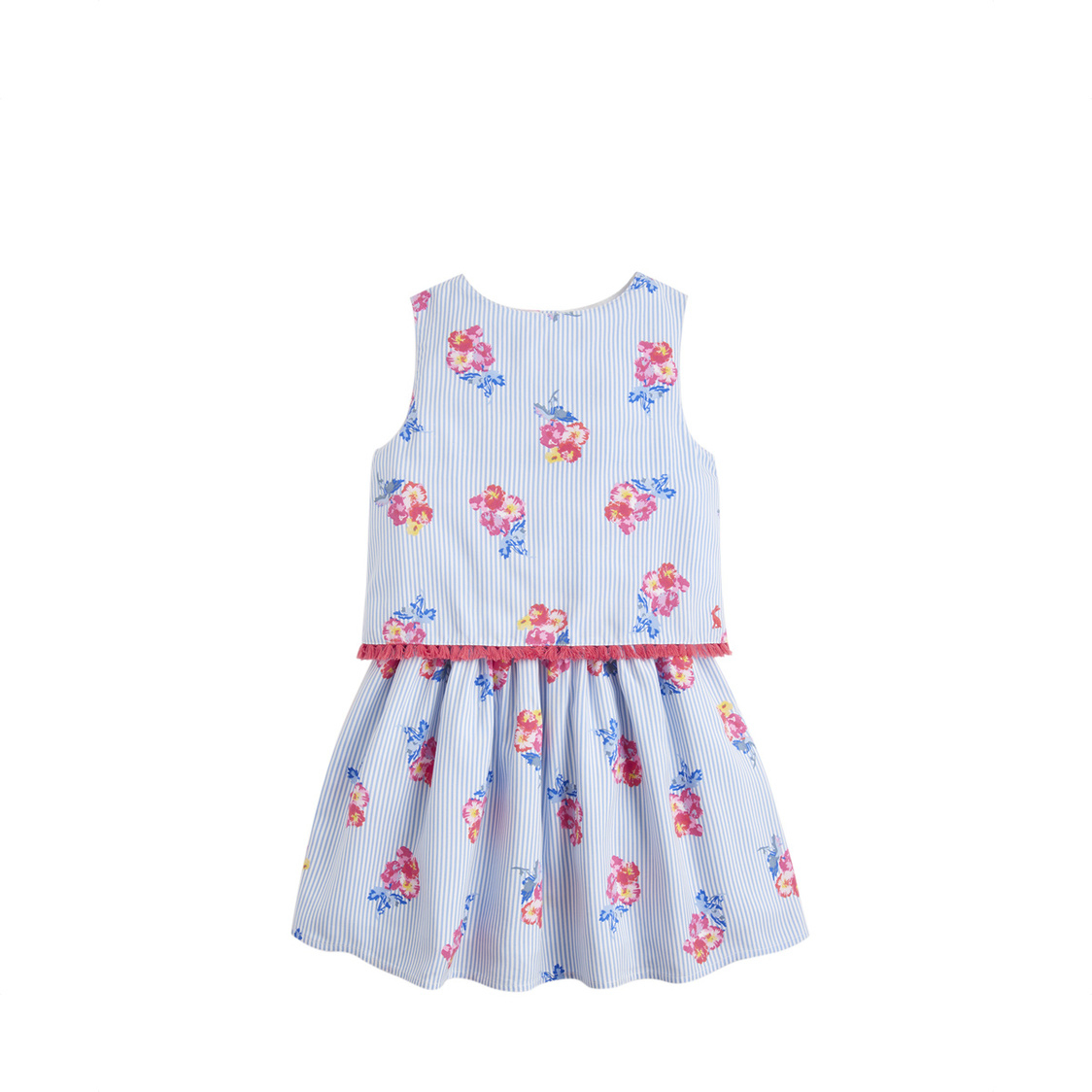 Imogen Woven Printed Dress 1-6 Years Blue Floral Stripe