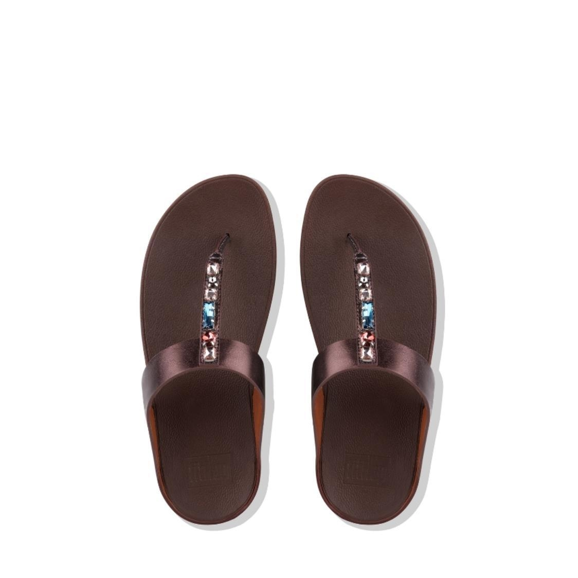 Fino Bejewelled Leather Toe-Thongs Berry