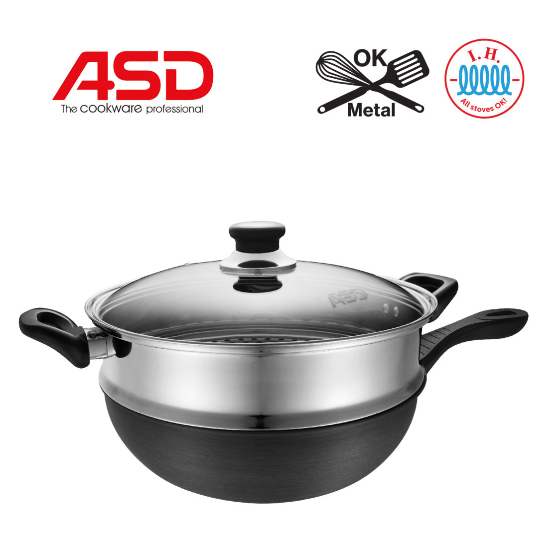 ASD Hard Anodised Induction Skillet Wok with Stainless Steel Steamer 30cm