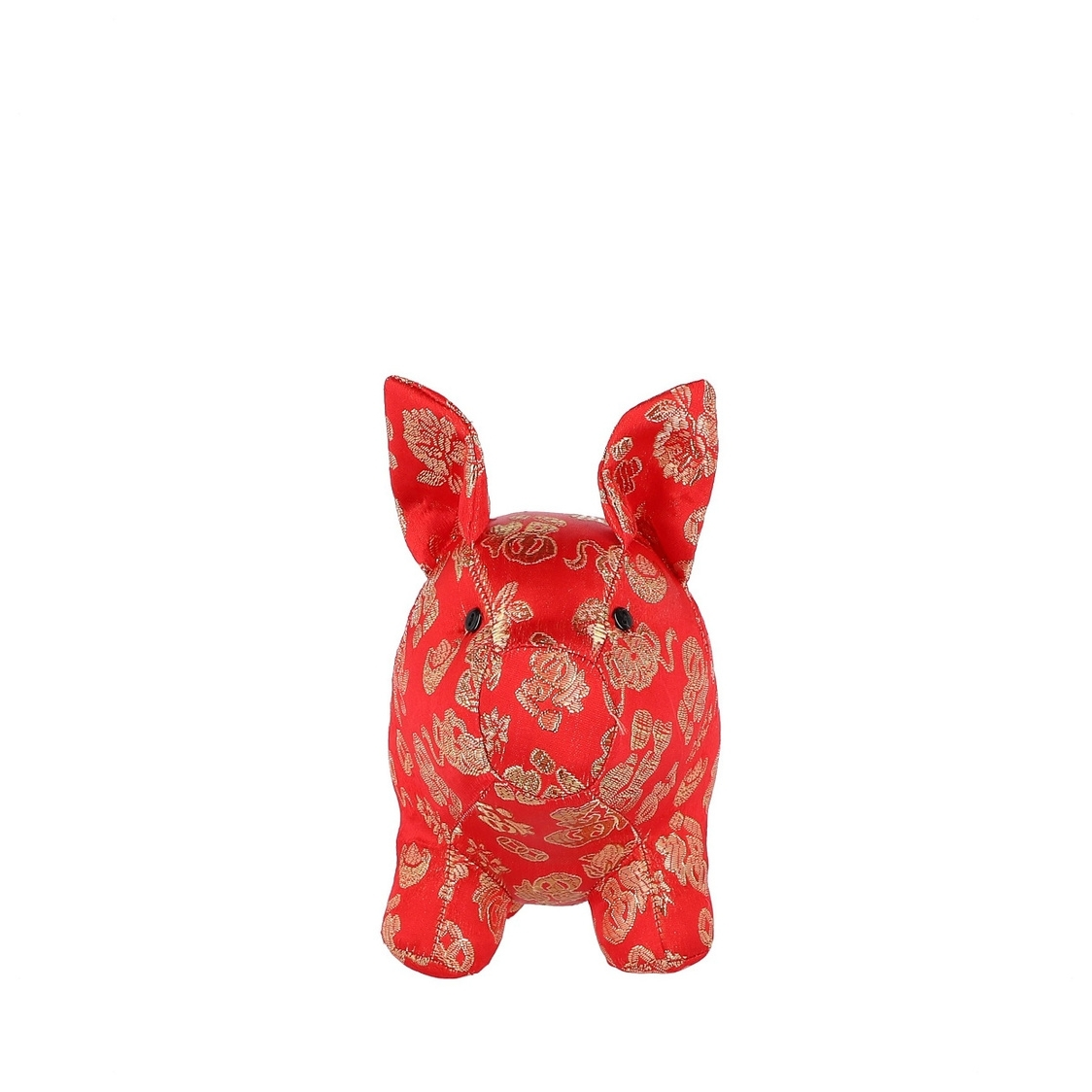 Mascot Pig Decoration in Red with Gold Threads