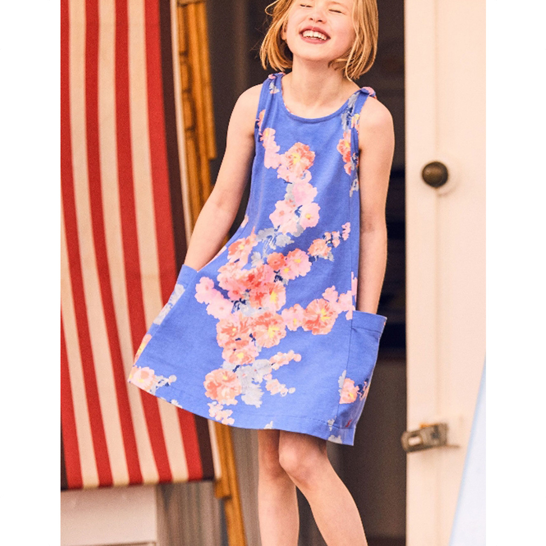 Madeline Jersey Tie Dress 3-12 Yr Blue Floral