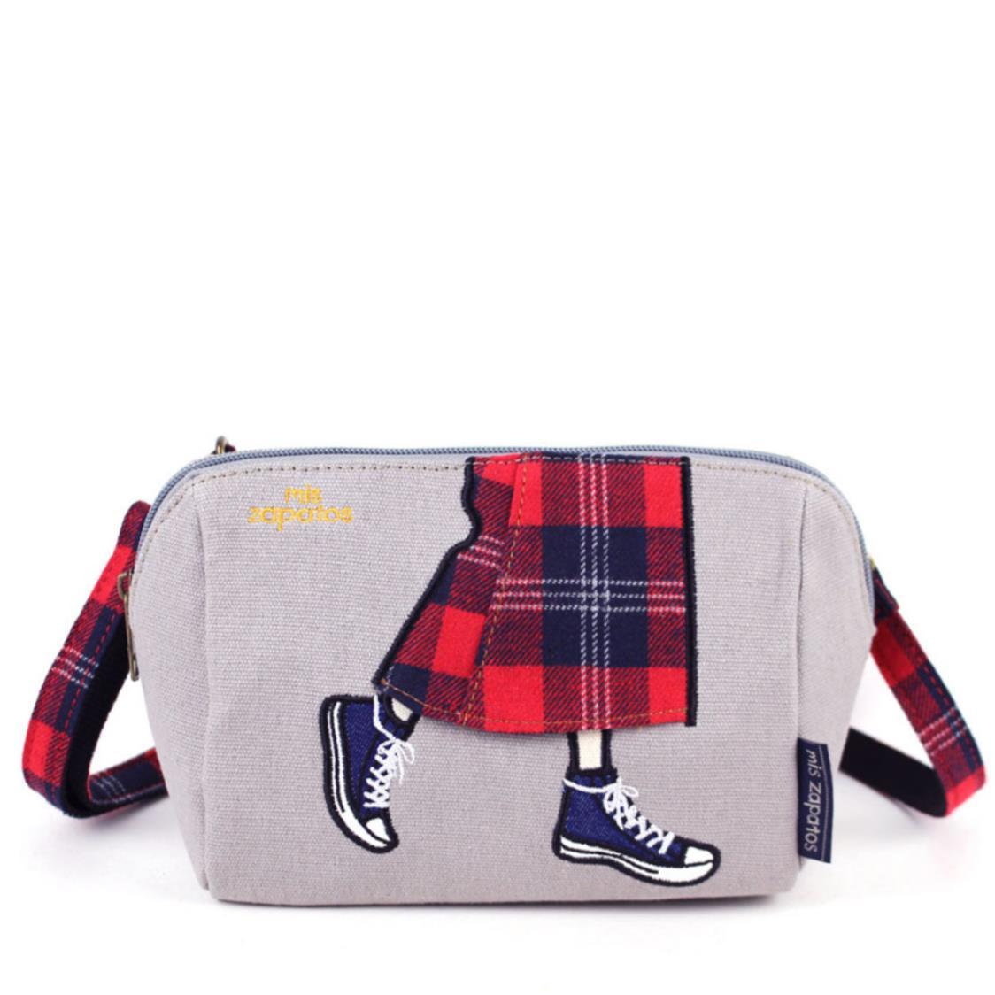 2-Way Use Jeans Skirt with Sneakers Slingbag Grey
