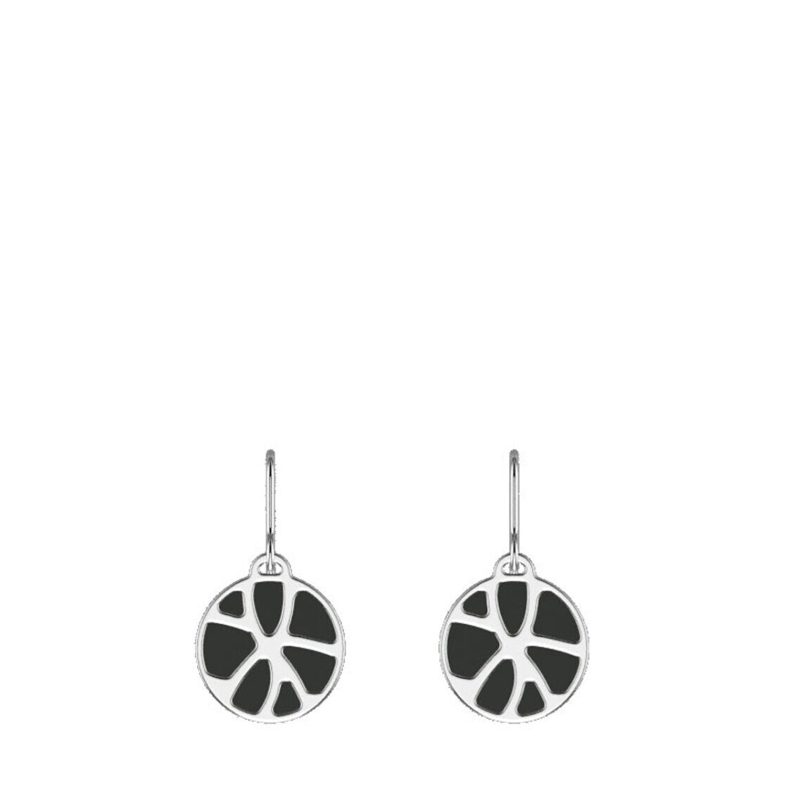 Nenuphar Sleeper Earrings16mm Silver Finishing Black  White
