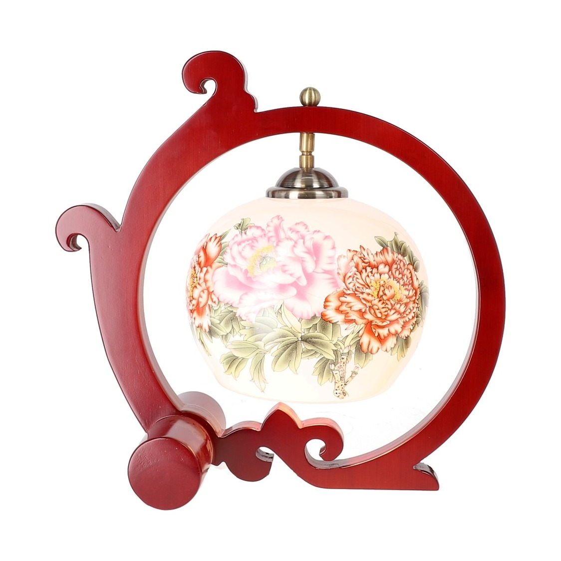 Tradition Cloud Frame Porcelain Lamp in Red Peonies