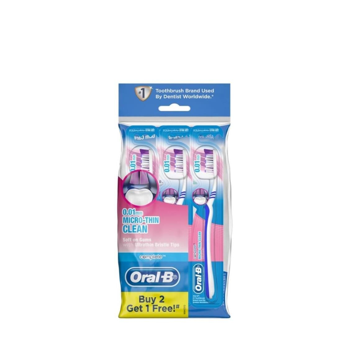 Oral B Complete Micro-Thin Clean Manual Toothbrush 3 Pack PolyBag