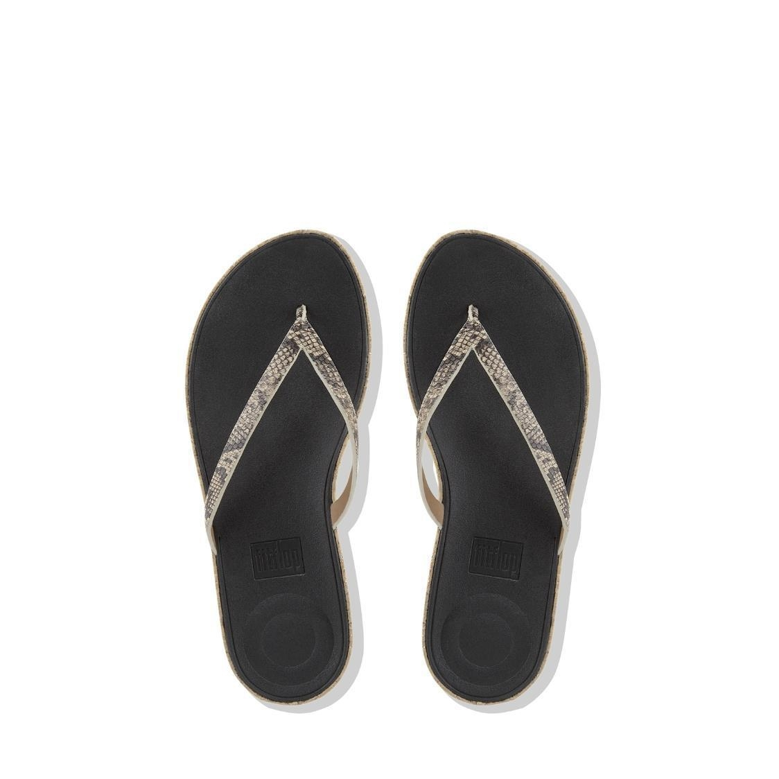 Linny Leather Toe-Thong Sandals Taupe Snake
