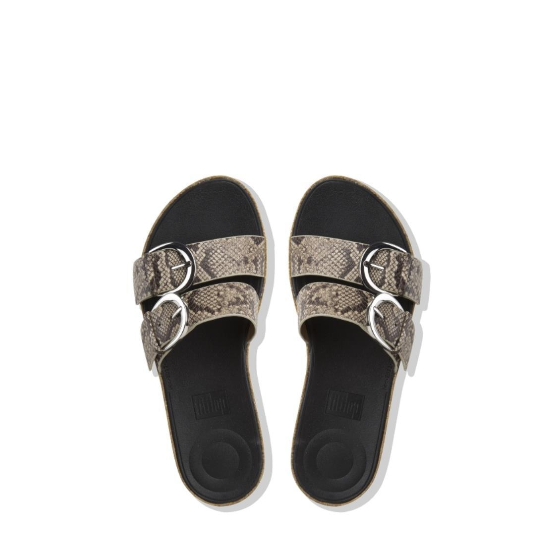 Duo Buckle Snake-Print Leather Slide Sandals Taupe Snake