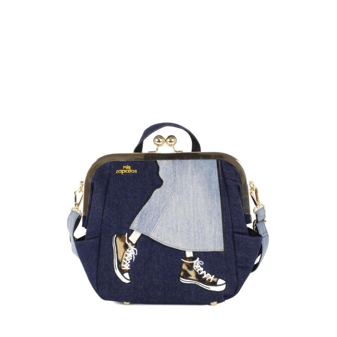3-Way Use Jeans Skirt with Sneakers Handbag Using Ball Clasp Closure Navy