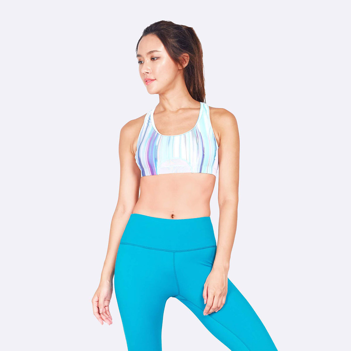 Knockout Racerback Sports Bra in White Iridescence Print