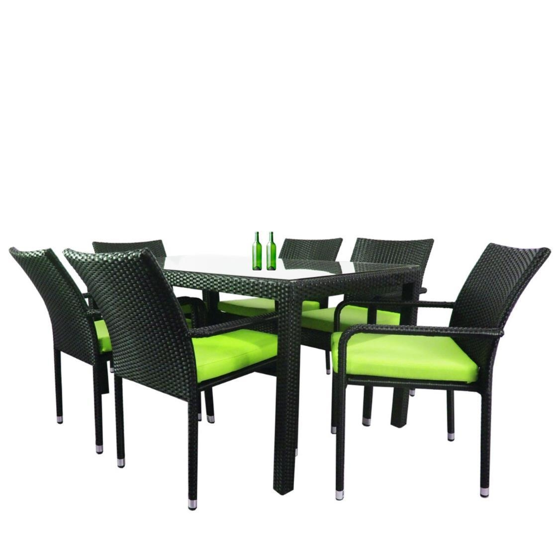 Boulevard 6 Chair Dining Green Cushion