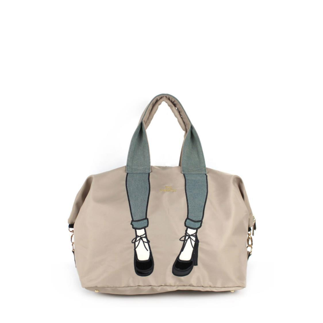 2-Way Use Jeans with High Heels Travel Bag Beige